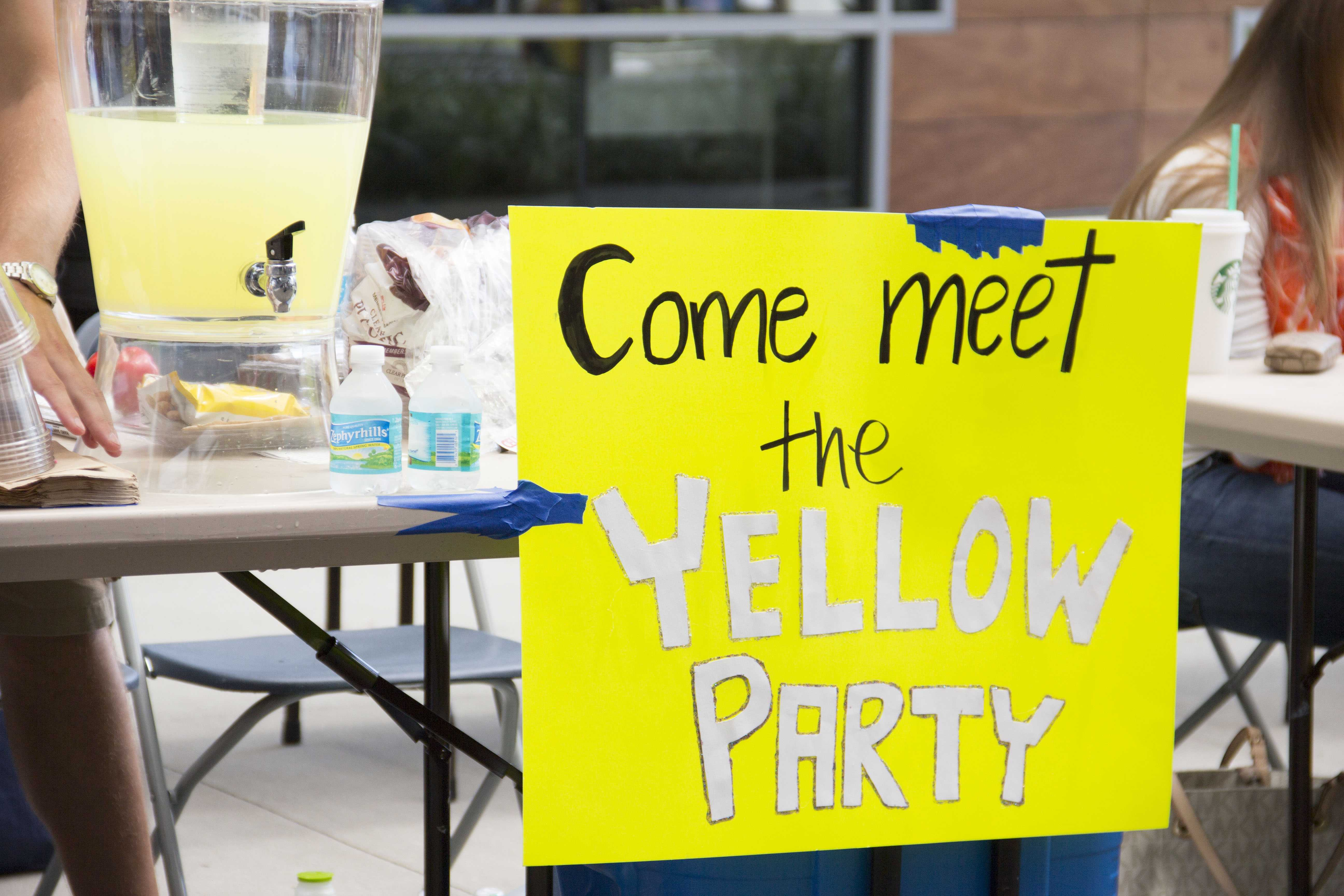 The Yellow Party campaign ran in the Fall 2012 Student Government Elections. Photo by Keri Weiland