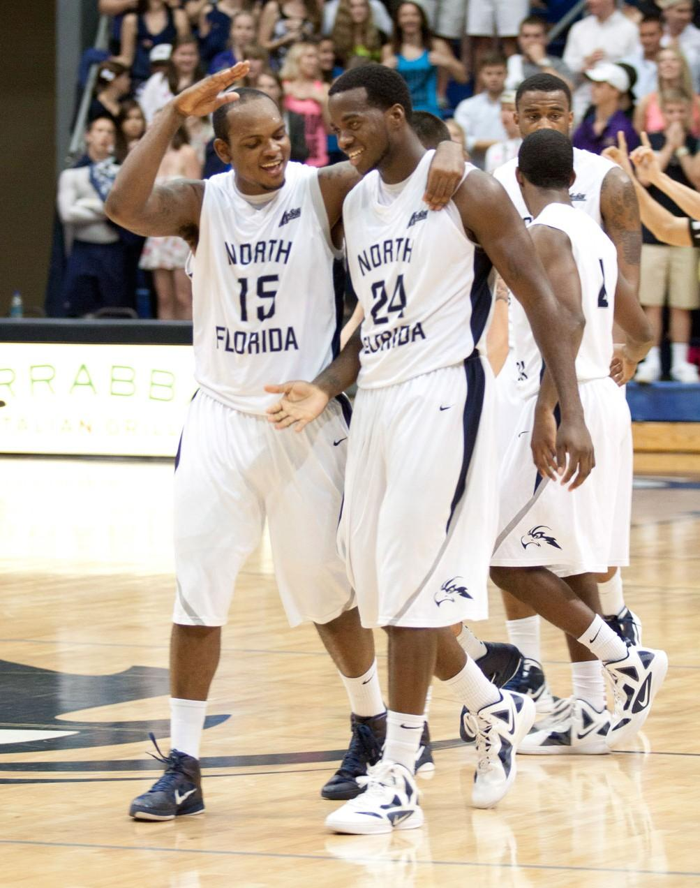 Photo credit: Andrew Noble Jerron Granberry (15) celebrates with teammate David Jeune (24).
