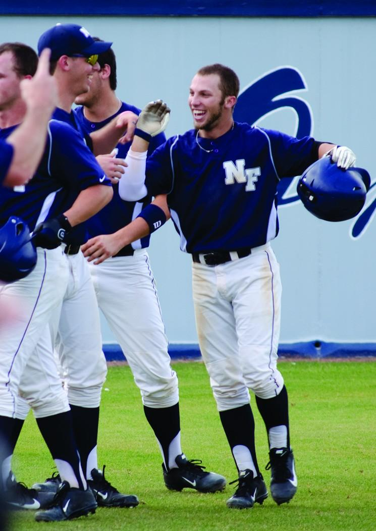 Photo Credit: Ali Blumenthal UNF celebrates another comeback extra innings win.