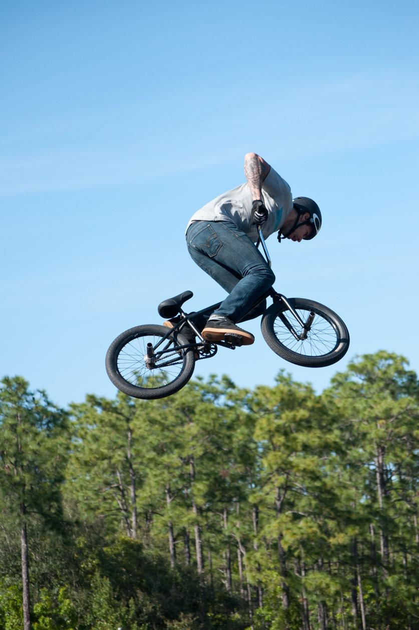 One of the BMX performers gets some big air off a jump.  photo by Sean Patterson