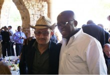 Seane with U2 singer Bono at Archbishop Desmond Tutu's 80th Birthday celebration in Cape Town, South Africa. Seane said Bono is one of his favorite people in the world.