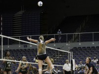 Freshman Kelly Koop elevates for a spike against MVSU. (Credit: Garrett Haupt)