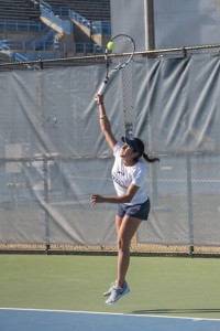 Women's tennis remained undefeated in A-Sun play with a victory over Lipscomb Thursday. Photo by Morgan Purvis