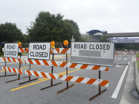 The overhead walkway connecting the Arena to the Arena Parking Garage and UNF Drive at the walkway will be closed to through traffic until further notice. Photo by Morgan Purvis