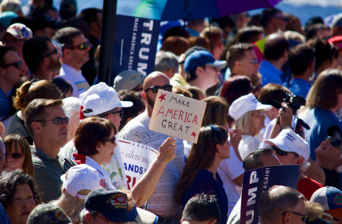 Supporters wait for Donald Trump to speak at the Jacksonville Landing. Photo by Kristen Smith