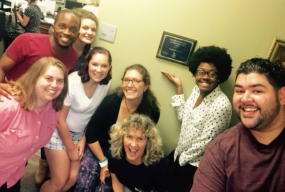 King posing with his student coworkers at the Interfaith Center.  Photo Courtesy Fulterius King