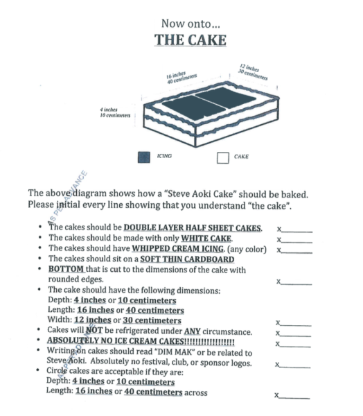 """A genuine Steve Aoki cake recipe. Note the page is stamped """"AS PER ADVANCE."""" This means the university can make this happen for Aoki if... Draft contract rider courtesy Records office."""