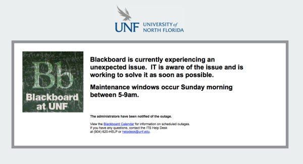 Error message notifying users of Blackboard outage. Courtesy of Blackboard