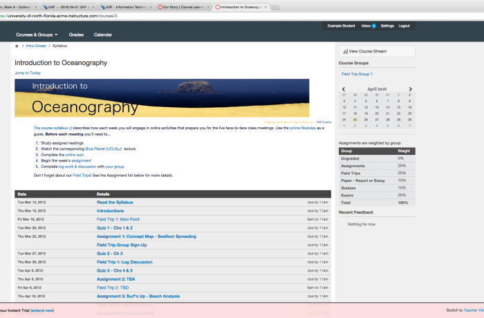 The homepage for a class in Canvas. Photo by Mark Judson, courtesy of Canvas.