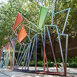 This bike rack created by Ratcliff is located just outside of the Fine Arts building.