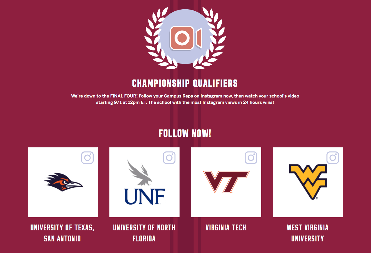 UNF is now a championship qualifier in VS Pink's Campus Showdown competition
