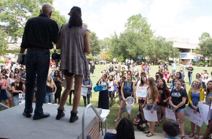 Black Lives Matter met on the Green for an organized protest Wednesday.  Photo by Brittany Moore