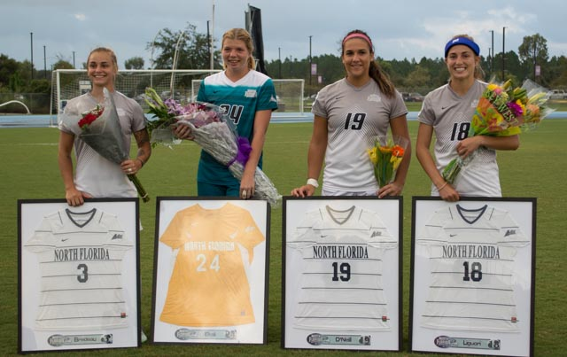Seniors are recognized before Friday's match-up. Photo by Lilli Weinstein