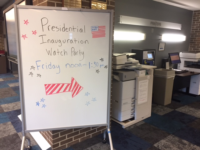Students gathered in the library to watch Trump's inauguration. Photo by Audrey Carpenter