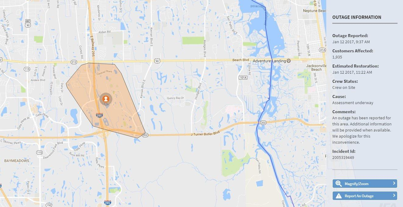 A map of the Southside area shows who was affected by the power outages. Map courtesy JEA.