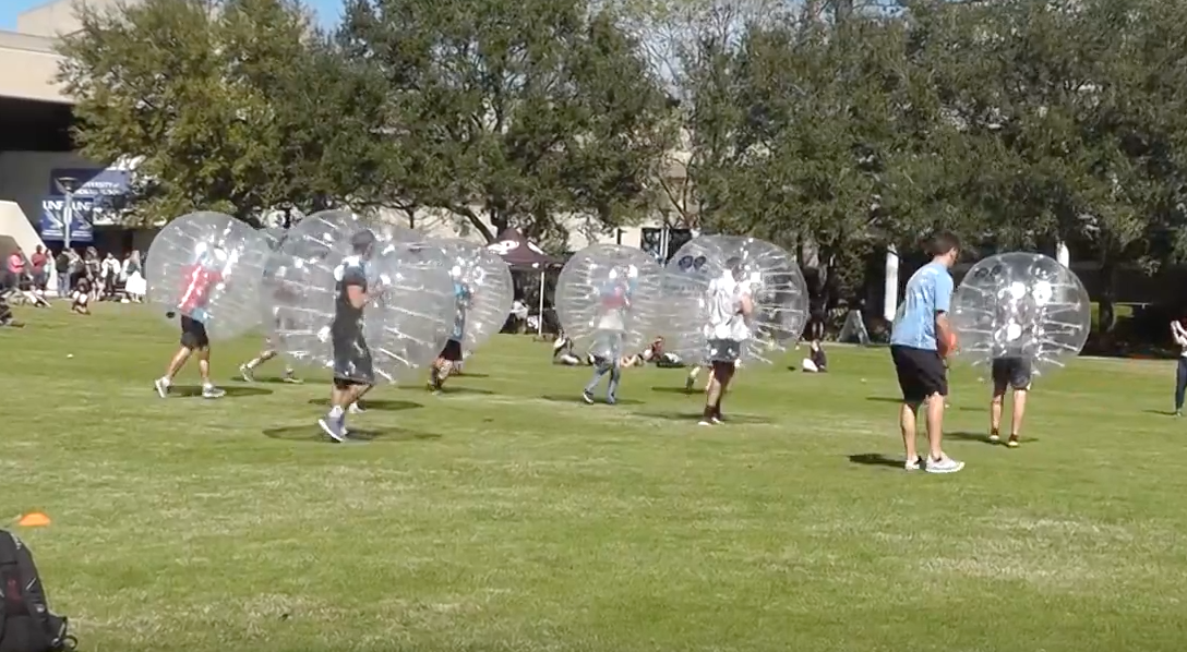 Video: Students gather for bubble soccer on the green