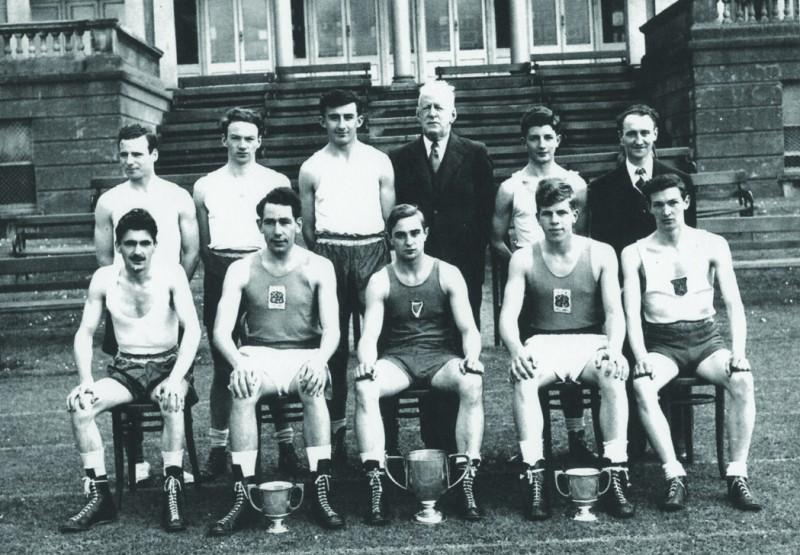 Comyns (front row, second from right) with the boxing club at Trinity College Dublin in 1952.  Photo Courtesy of Ken Comyns