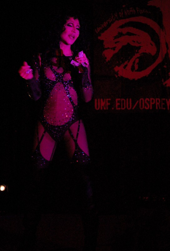 Chad Michaels lip syncs to Cher at Osprey Productions' March 8 drag show in the student union ballrooms.