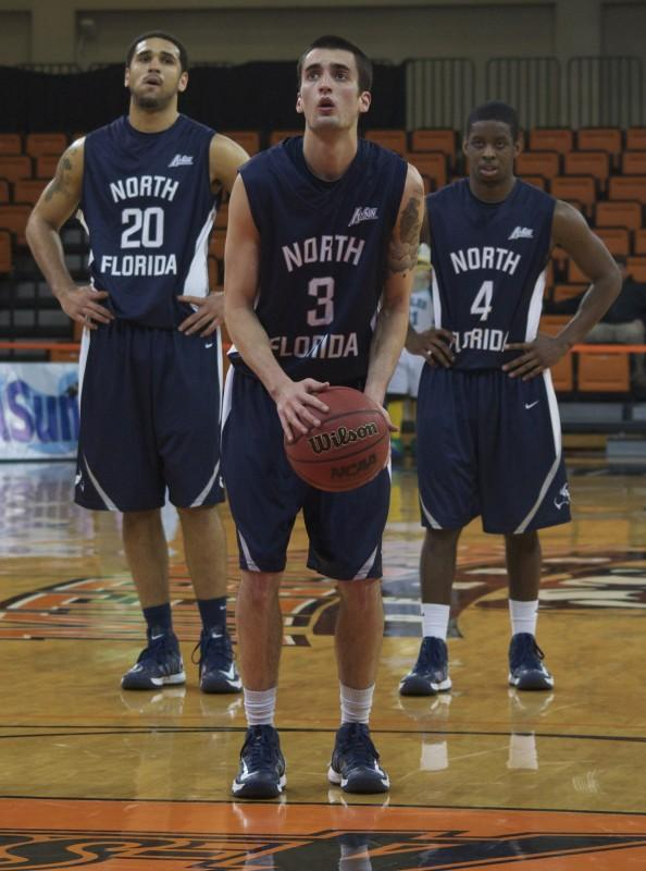 Photo Credit: Sean Patterson Andy Diaz (20) Parker Smith (3) and Will Wilson (4) playing in their last game in a UNF uniform.