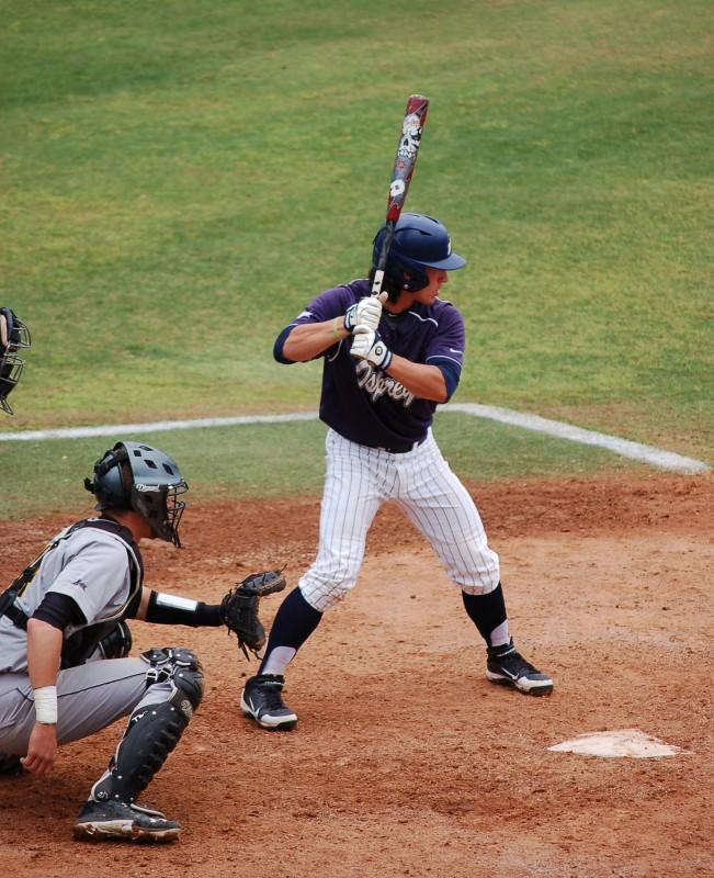 Photo Credit: Travis Gibson Corey Bass at the plate against Northern Kentucky.