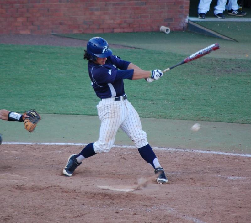 Corey Bass at the plate against Kennesaw State in the A-sun tournament. (Photo credit: Travis Gibson)