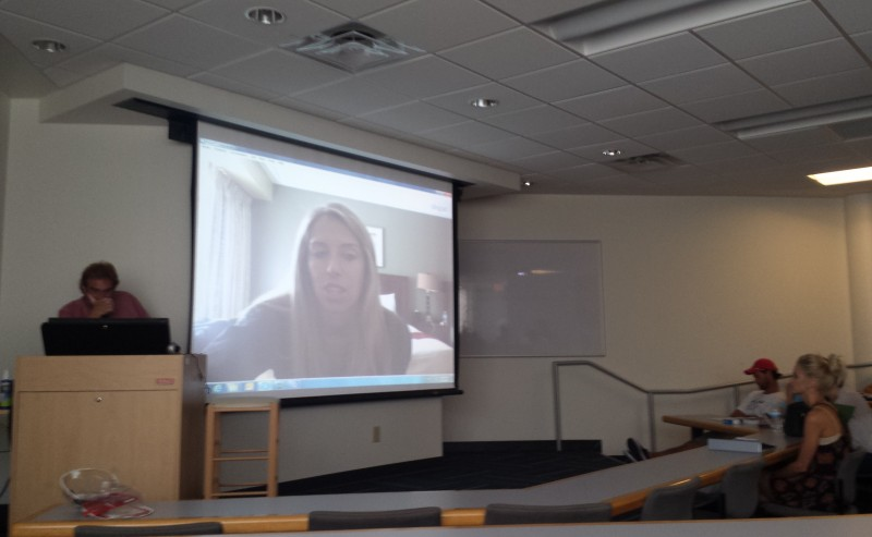 Students in Dr. Casella's engaged in a Q&A with Sara Walsh.