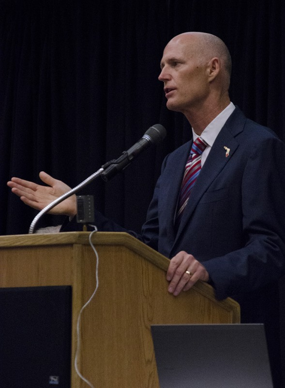 """Governor Scott spoke at UNF Sept. 11 as part of his """"It's Your Money"""" Tax Cut Tour. Photo by Ali Blumenthal"""