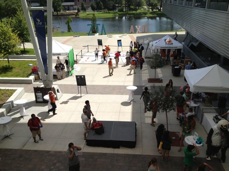 A giant monopoly game set up by the Florida Lottery in the Student Union for people to win prizes. Photo by Lydia Moneir