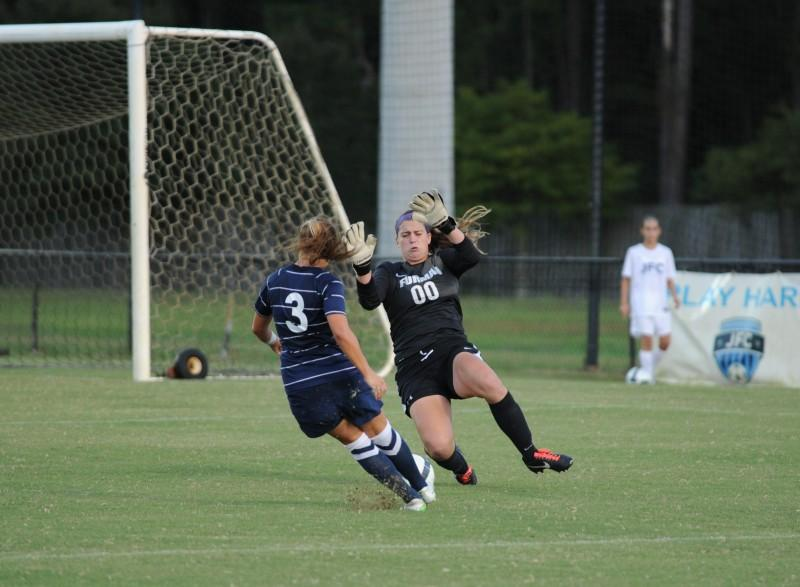 Alexis Bredeau takes a shot in the first half with UNF down 1-0. The end result was a deflection off the post.  Photo credit: John Shippee