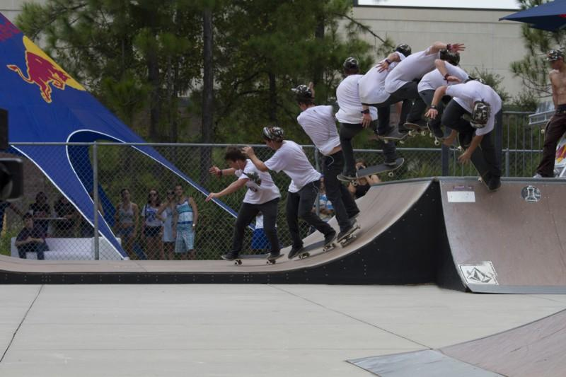 Dane Quinto, King of the Campus winner, does a 360 to 180 revert transfer from the quarter pipe to the mini ramp. Photo by Randy Rataj