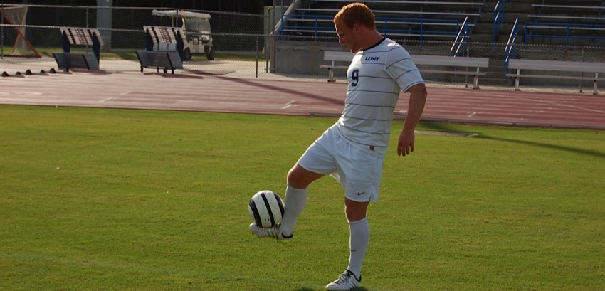 Bolt scores a goal against Western Illinois, leading UNF to a 2-1 finish. Photo by