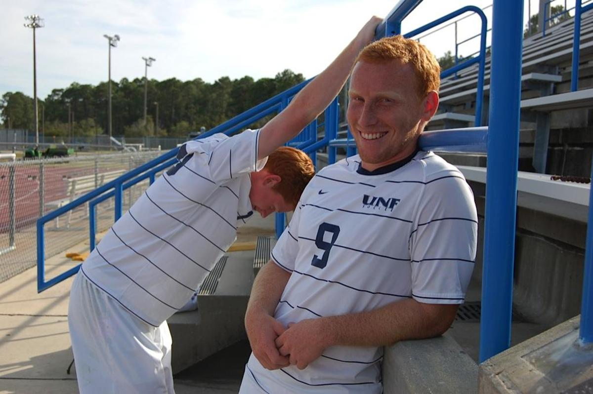UNF men's soccer team boasts a red-headed pair of freshman. Photo by