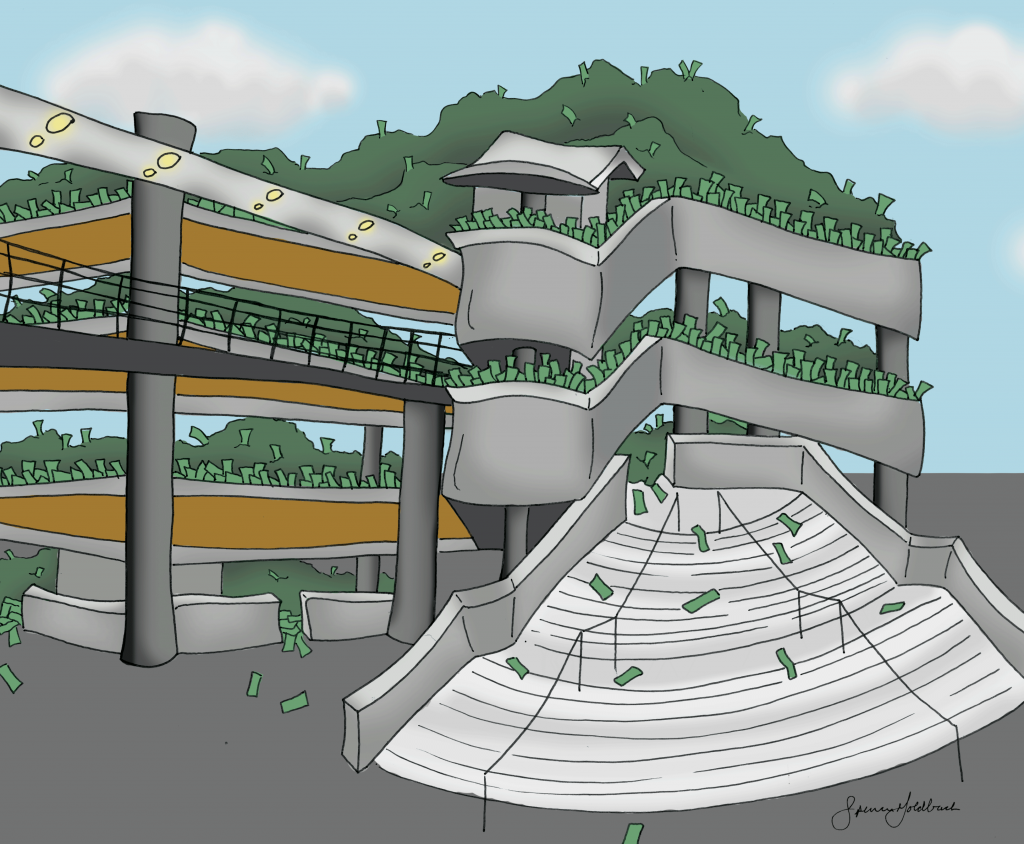 The cost of parking garage construction is around $12,000 per spot. Illustration by Spencer Goldbach
