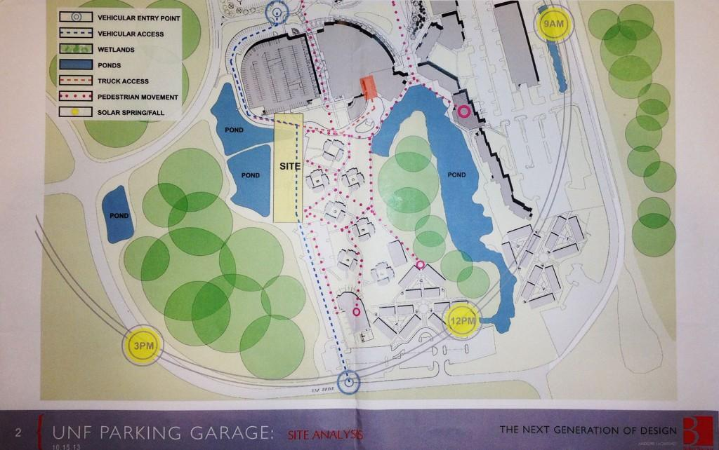 This map shows the construction area for the new parking garage.  Photo by Lydia Moneir