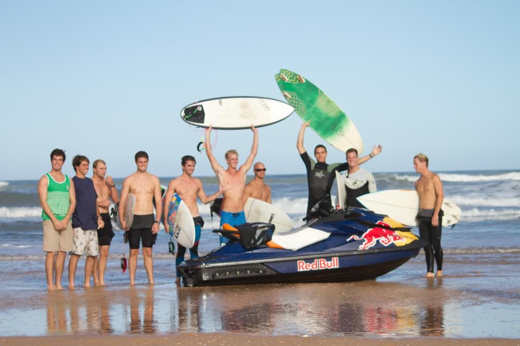 The UNF Surf Team celebrates victory over UF. Photo by Randy Rataj