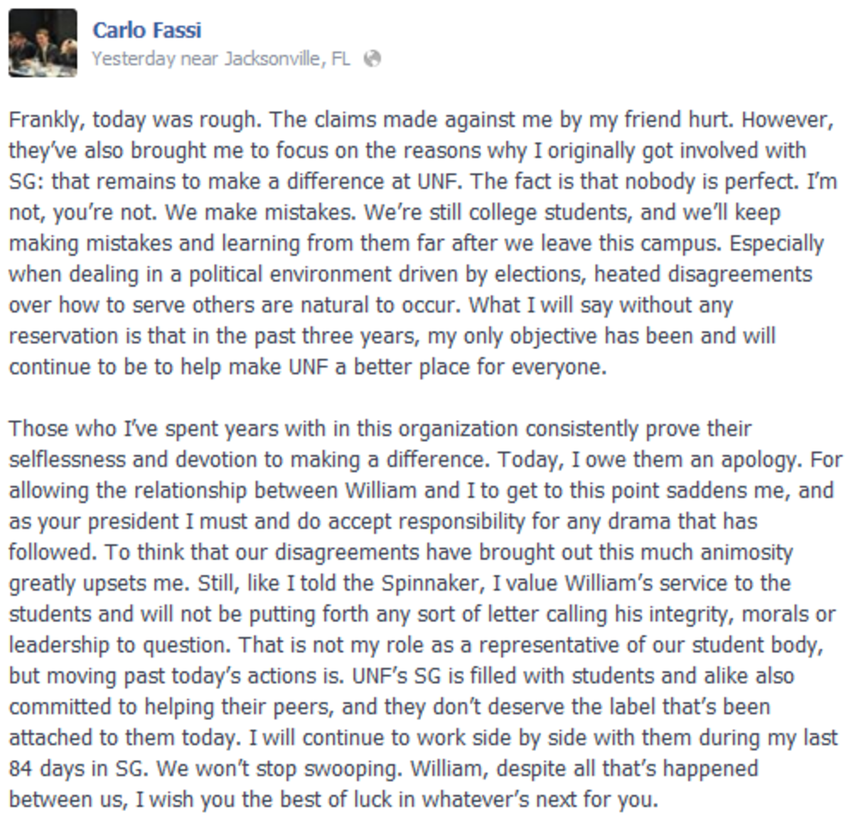 Carlo Fassi's Facebook status the night of Jan. 21.