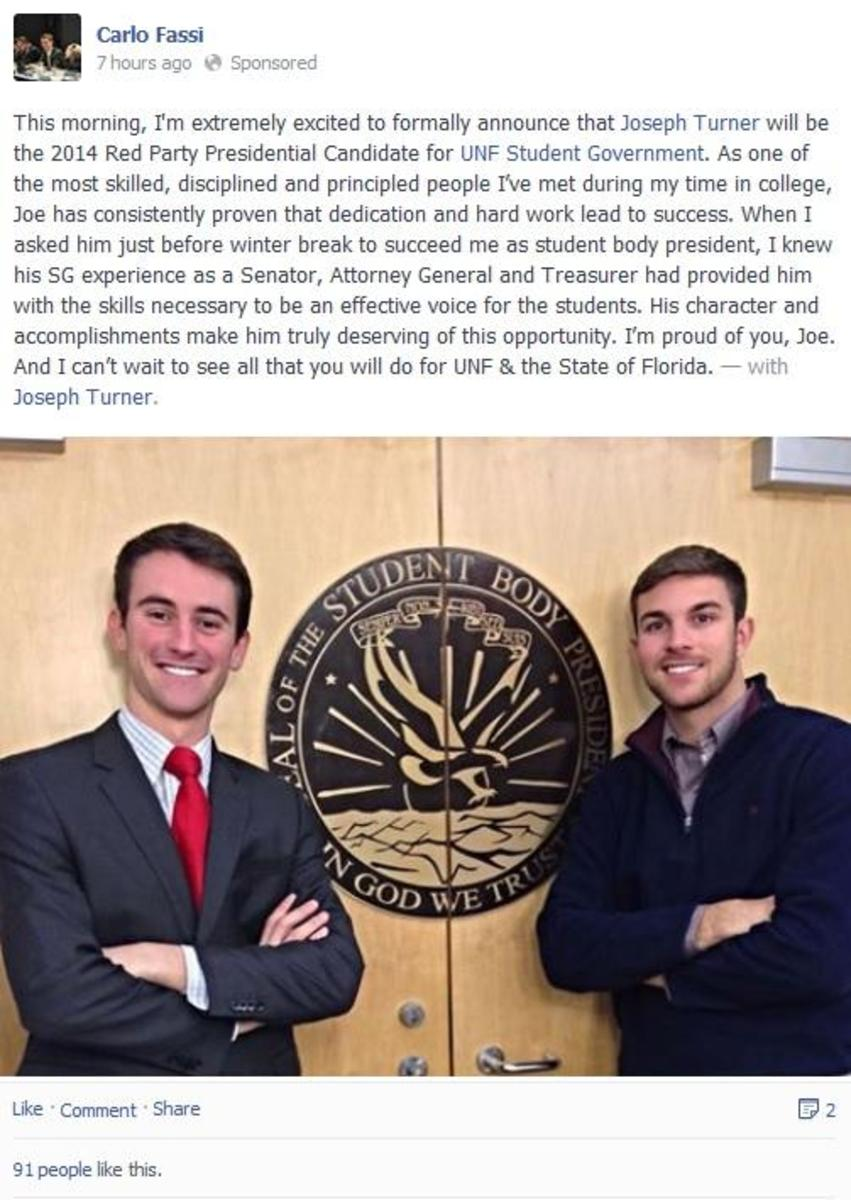 Carlo Fassi (left) announces the candidacy of Joseph Turner (right) on Facebook. Photo courtesy of Facebook.
