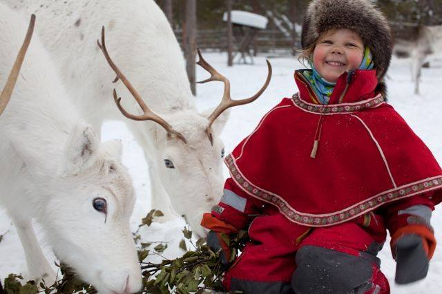 A child and two white reindeer at Christmas. Photo courtesy of Facebook.