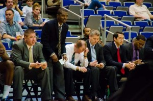 Head Coach Matthew Driscoll and his staff unhappy with the team's performance. Photo by Robert Curtis