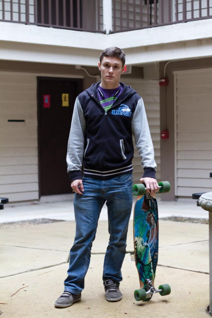 Will Gualtieri with his once stolen skateboard at the UNF Fountains. Photo by Randy Rataj.