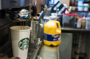 A single cup of coffee being brewed at UNF's campus. Photo by Bronwyn Knight.