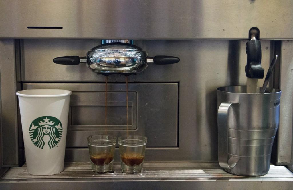 Two shots of expresso being brewed at the Starbucks on UNF's campus. Photo by Bronwyn Knight.