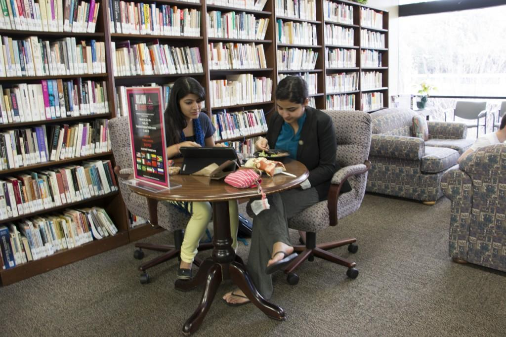 Two students in the Women's Center at UNF. Photo by Bronwyn Knight