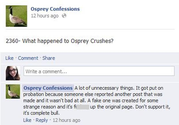 Confession 2360 on the Osprey Confessions page wonders why Osprey Crushes disappeared. Graphic courtesy of Facebook.