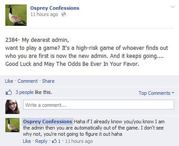 Confession 2384 comments on the Osprey Confessions admin's choice to stay anonymous. Graphic courtesy of Facebook.