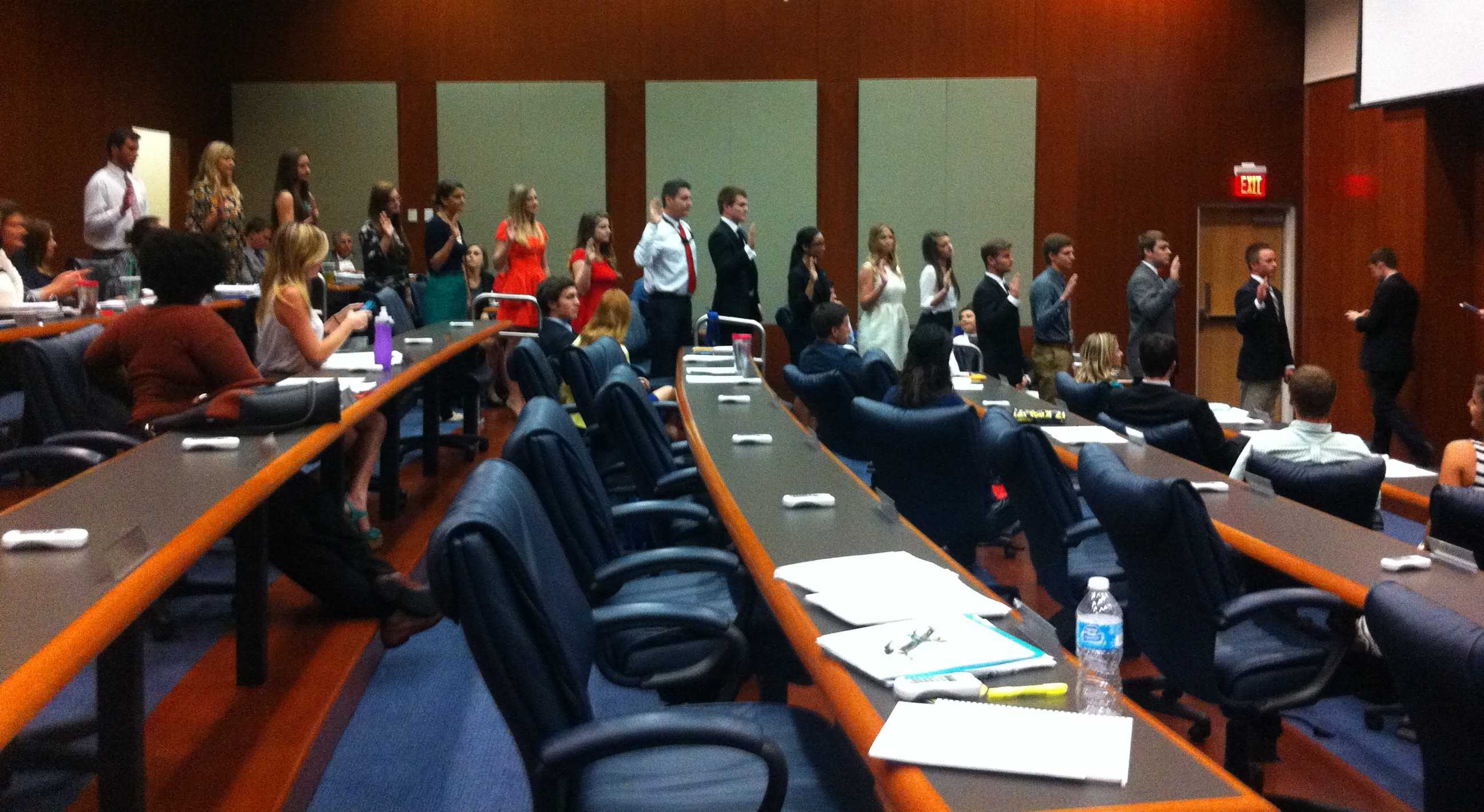 SG members, new and old, were sworn into various positions for next term. Photo by Tiffany Felts