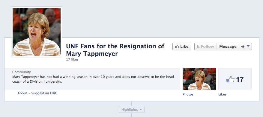 A screen-grab of the Facebook page in question.