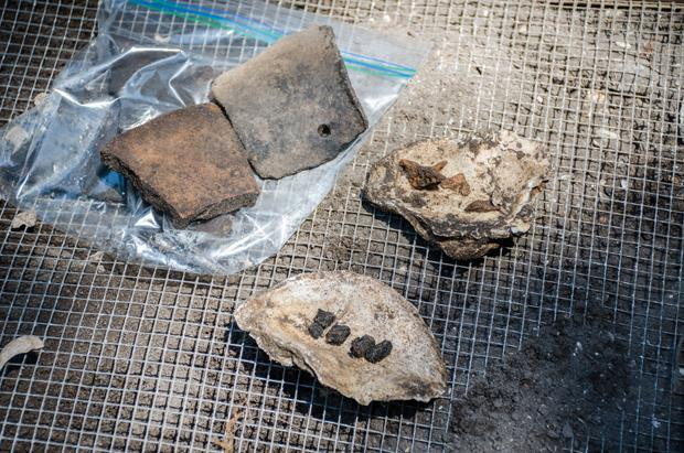 Pottery, bones, and shells found will be taken to the lab for processing. Photo by Robert Curtis