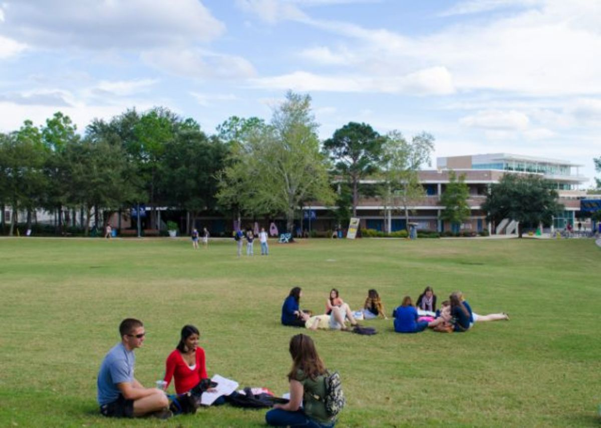 Weather permitting, the green located outside the Fine Arts Center can be the perfect spot to set up a picnic blanket and study under natural light. Photo courtesy UNF Interactive Map