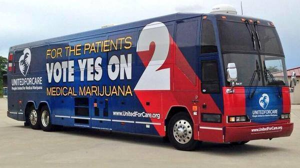 John Morgan's tour bus for his campaign to collect student votes on Amendment 2.  Photo courtesy Facebook